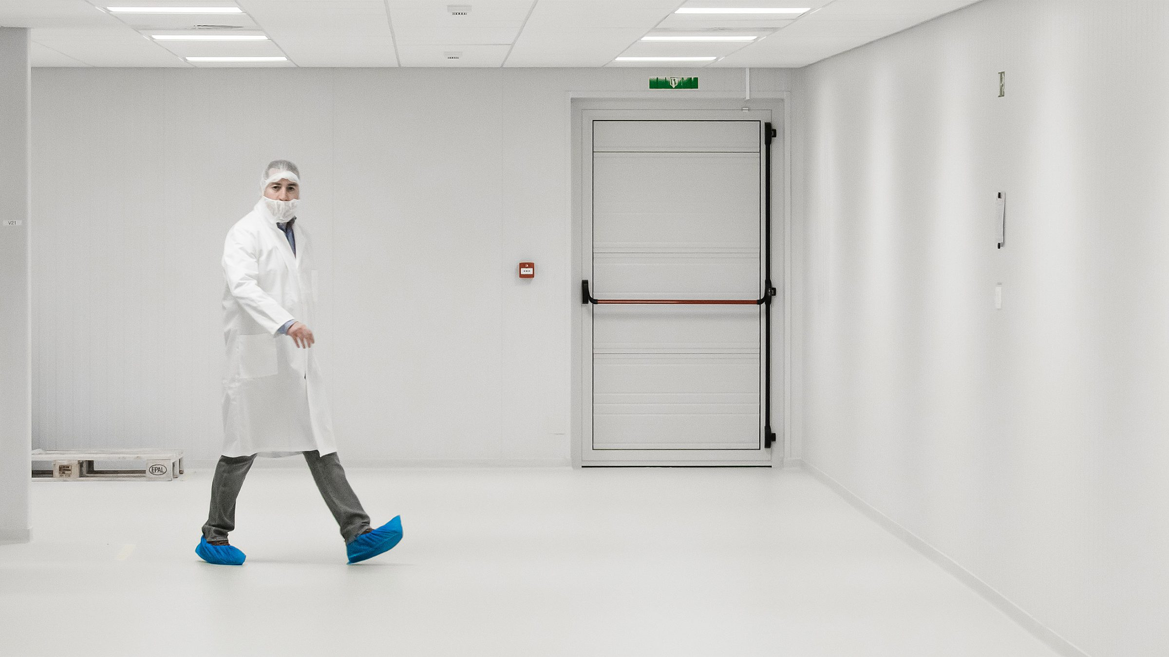 Man walking in cleanroom small 2