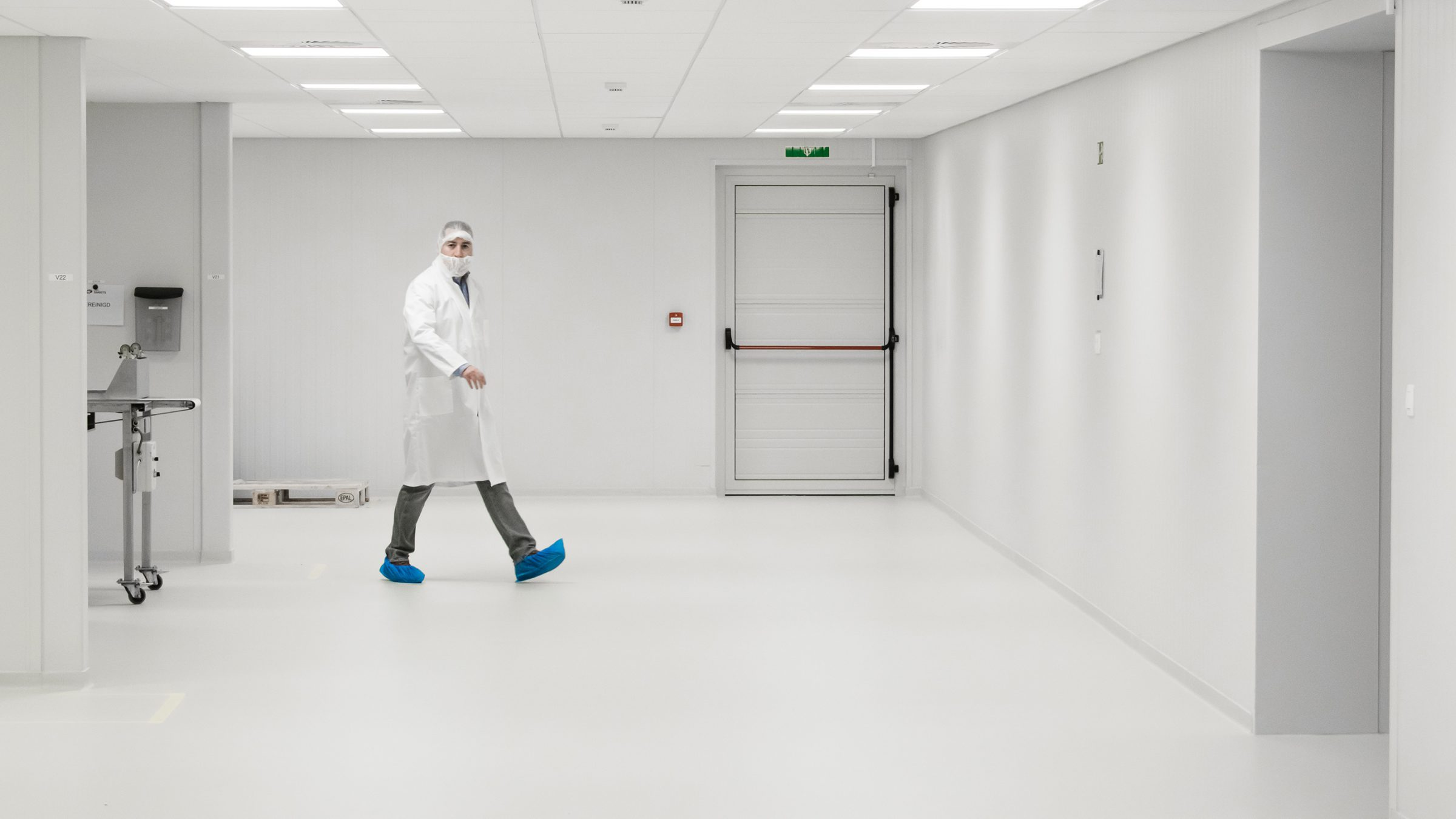 Man walking in cleanroom small